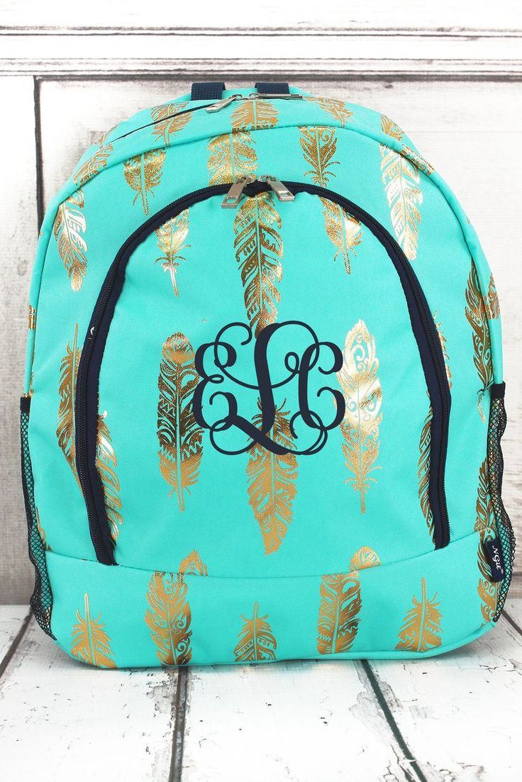 Metallic Gold Fancy Feathers Full Size Backpack in Navy or Mint, Backpack for Teens, Backpacks for College, Backpacks for School