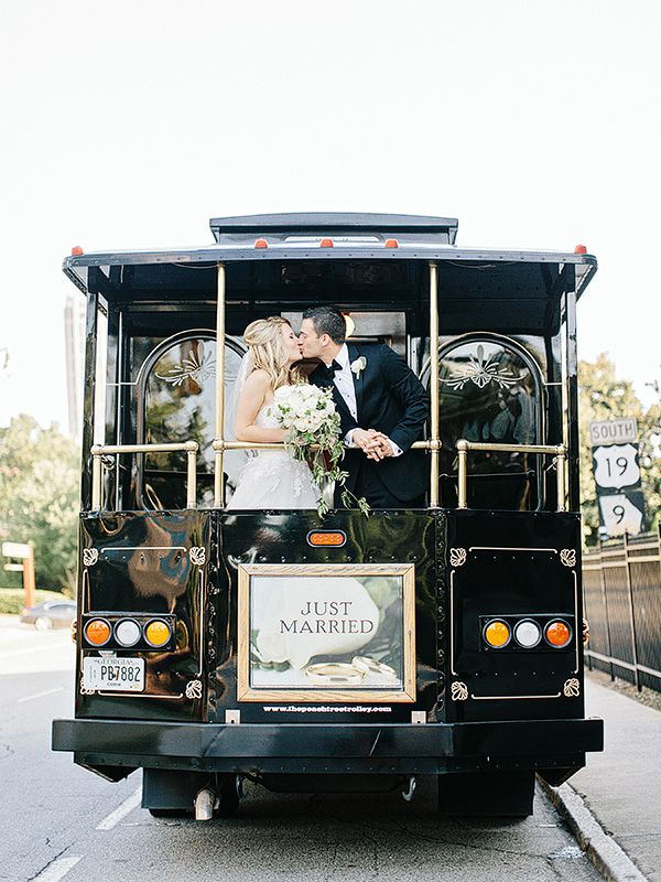 just married wedding trolley | Amy Arrington