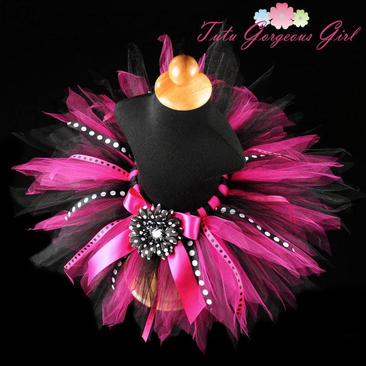 Hot Pink & Black Birthday Ribbon Tutu...Polka Dot Ribbon Streamers...Photo Prop...10 Inch Length...Sizes 6 Months to 4T . . . DIVA PARTY. $36.00, via Etsy.