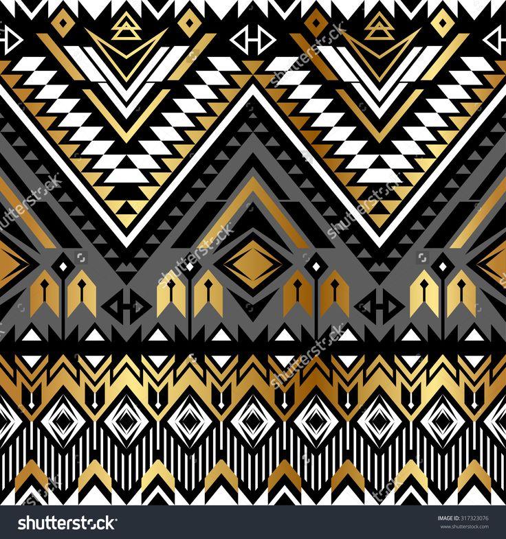 Stock Vector Tribal Navajo Ornamental Seamless Pattern