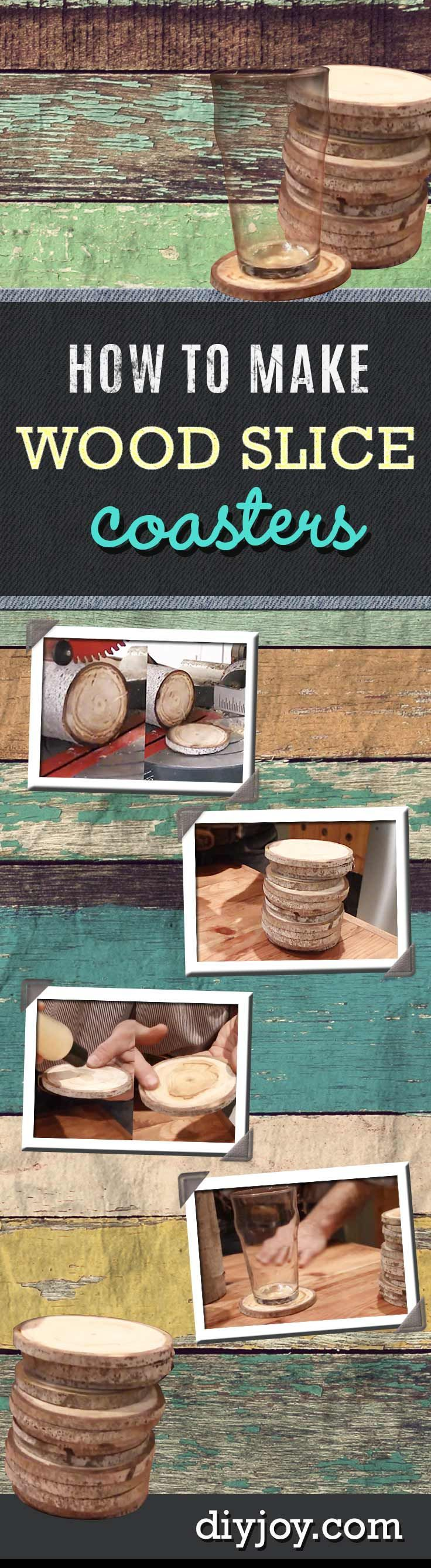 Easy Rustic DIY Projects for the Home - Wood Slice Coasters http://diyjoy.com/diy-home-decor-how-to-make-coasters