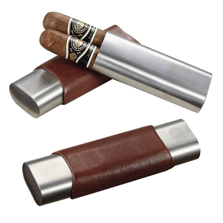 Brown Leather Stainless Steel 2 Finger Cigar Case