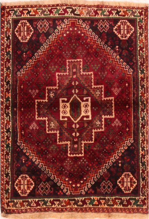 Shiraz Persian rug. Wool. Hand Knotted. 112 x 155 http://www.rugman.com/persian-shiraz-design-oriental-area-rug-small-size-wool-red-rectangle-253-24294