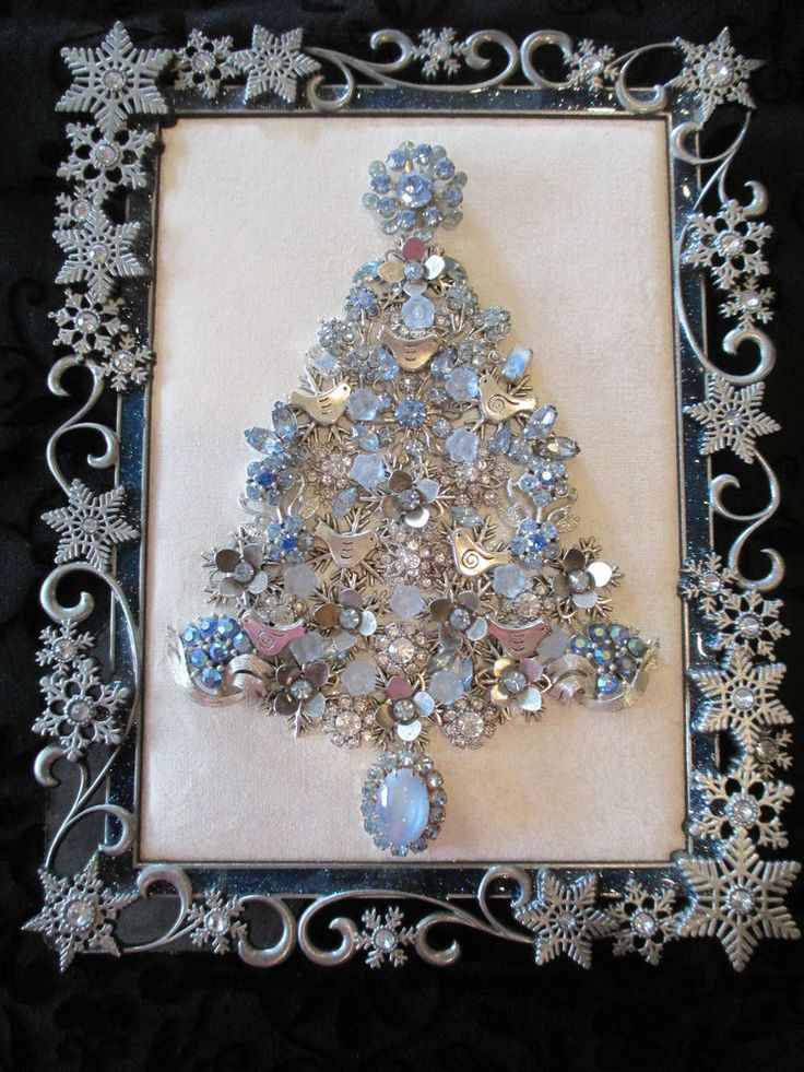 Vtg OOAK Framed Rhinestone Jewelry Christmas Tree Snowflakes Birds Silver Blue in | eBay