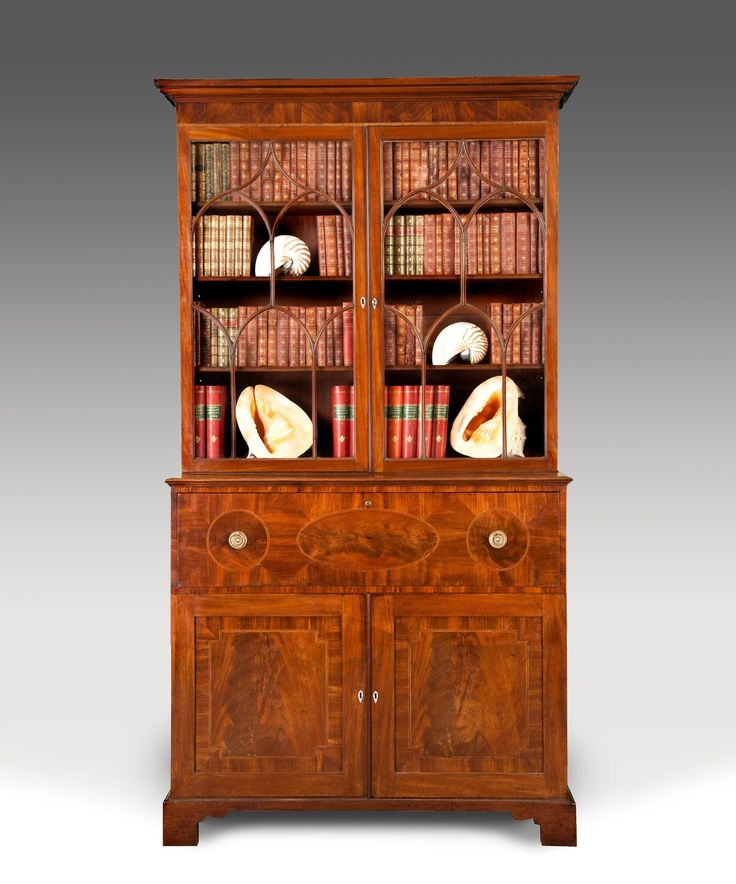 An antique Sheraton mahogany secretaire bookcase. - 32 Best Sheraton Style Furniture Images On Pinterest Antique