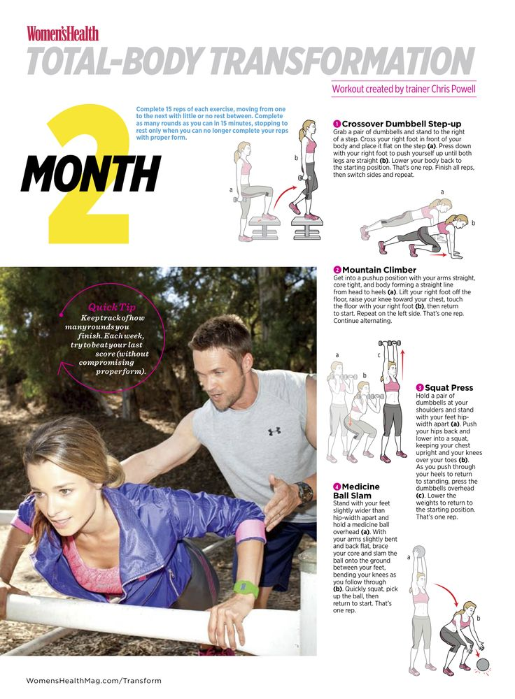 Total-Body Transformation: Month 2  In the second month of your total-body transformation, your workouts will be done at a faster pace to help you boost speed, power, and cardiovascular endurance.