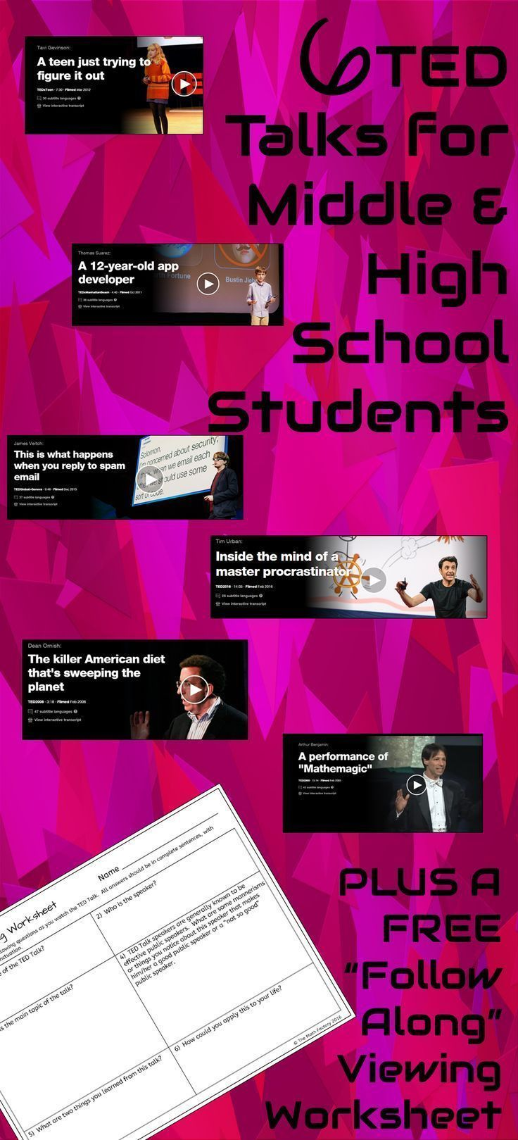 A blog post on TED Talk suggestions for middle and high school. Free viewing worksheet download as well!