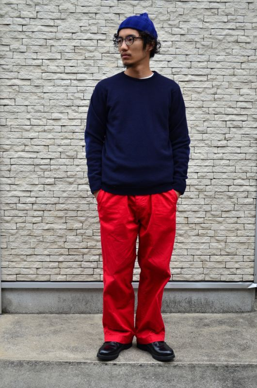 WILLIAM LOCKIE LAMBSWOOL CREW NECK SWEATER [NAVY]
