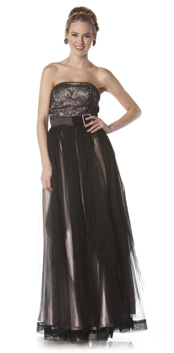 Long Black/Champagne Gala Dinner Party Dress Formal Lace Design Top