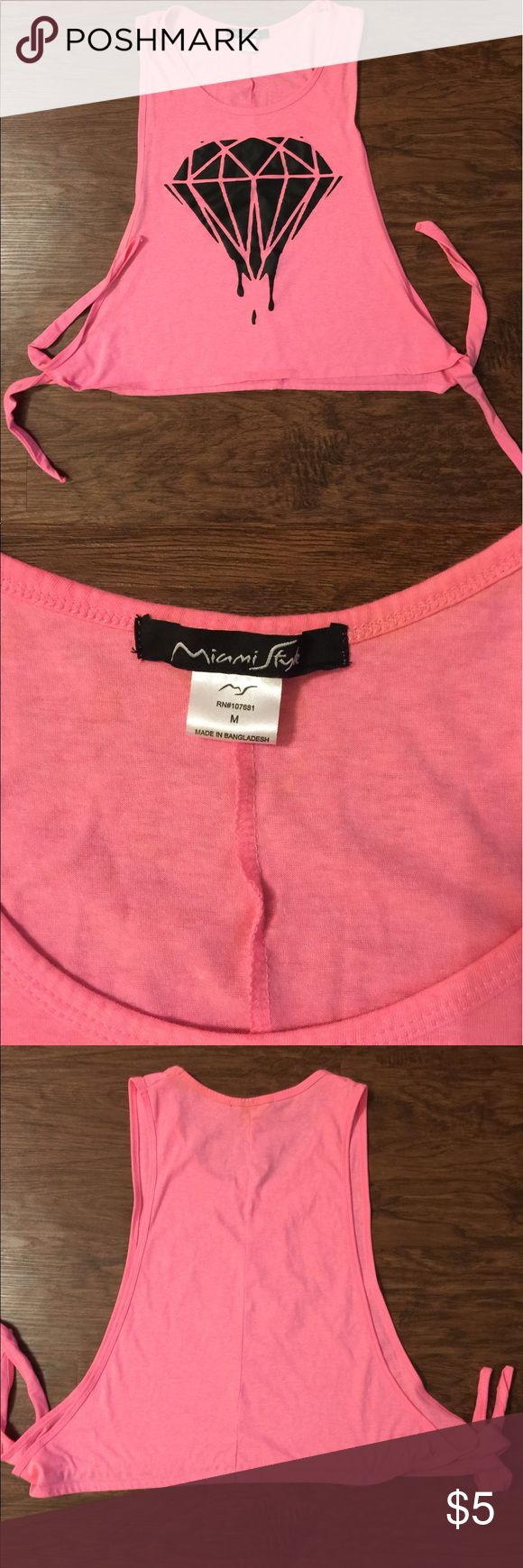 Hot Pink Shirt Hot Pink Shirt, Tie Sides, No sides, it ties together. Diamond design on the front. Never worn Tops