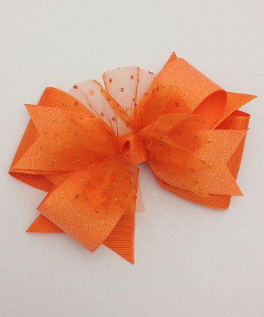 Another great find on #zulily! Orange Glitter Dot Bow #zulilyfinds