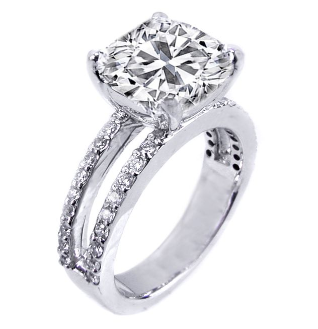 Cushion Diamond Split Band Engagement Ring Britney Spears Choice in 14K White Gold 0.56 tcw.