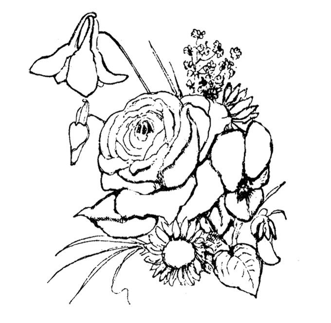 Beatiful Flower Coloring Page For Kids
