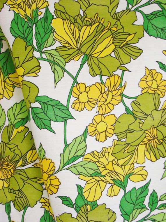 Vintage Fabric - 1970s floral curtain / upholstery fabric -green, yellow, gold marigolds on white