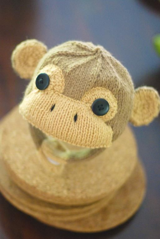 Grabby Monkey Cap Knit Pattern.  Infant through child sizes.