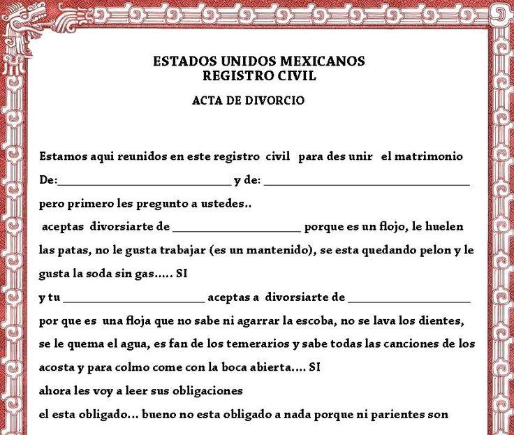 Acta de Matrimonio y divorcio de broma - Taringa!