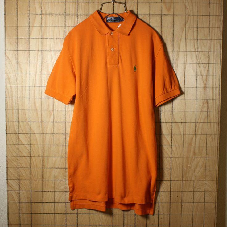 POLO by Ralph Lauren/古着/オレンジ/コットン100%鹿の子生地ワンポイントポロシャツ/メンズS