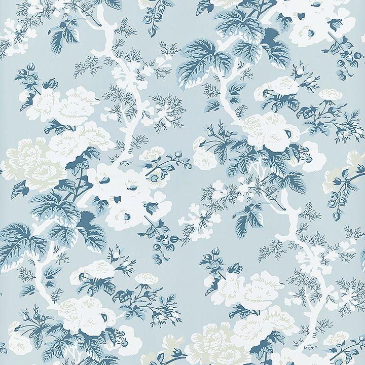 Wp88372 002 Ascot Floral Print Sky Scalamandre Wallpaper