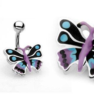 Navlepiercing med sort sommerfugl 34 kr