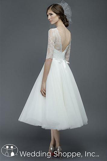 Romantic, lace tea-length wedding dress.   Encore by Watters Bridal Gown Rho / 6741E