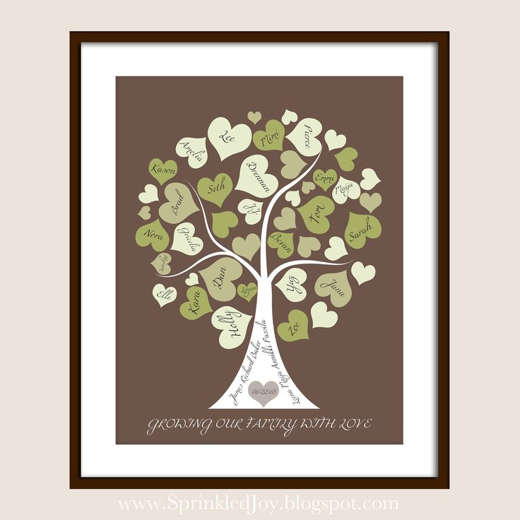Family Tree Personalized with your Loved Ones, Names in Hearts as Leaves, Pick Your Own Colors. $19.95, via Etsy.