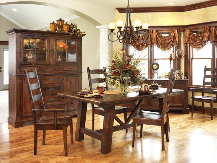 Early American Country Farmhouse Dining Room Set