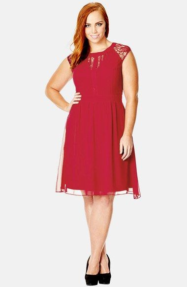 Dark Romance Lace Detail Dress (Plus Size) at Nordstrom.com. Pretty lace panels, left sheer at the neckline and sleeves, romance the fitted bodice of a charming lightweight dress styled with an inset waist for figure-defining flattery. The floaty A-line skirt drifts gently to knee-length.