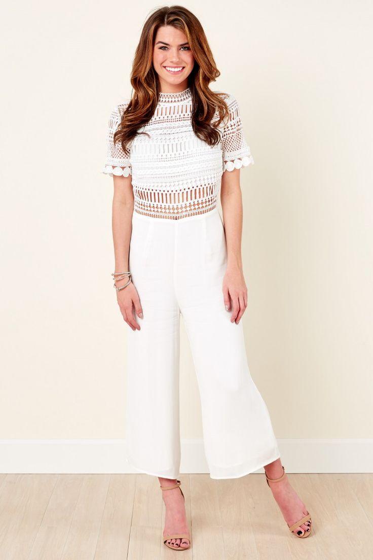 Key To The City White Lace Jumpsuit at reddressboutique.com