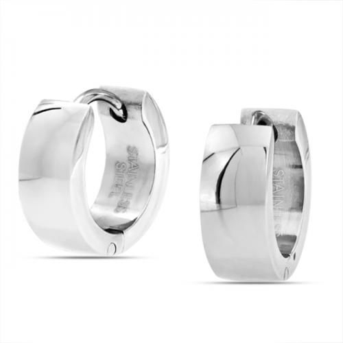 Hinged Hoop Mens Plain Huggie Earrings Stainless Steel