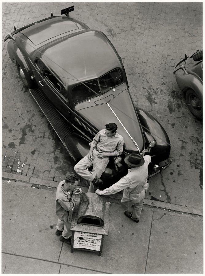 Henri Corsini Street scene Cushing Oklahoma 1950