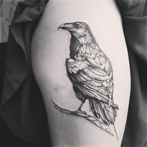 60+ Mysterious Raven Tattoos