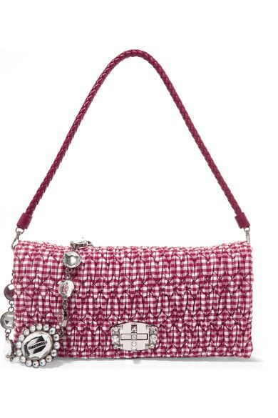 Miu Miu - Vichy Matelassé Gingham Poplin Shoulder Bag - Red - one size