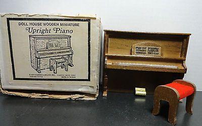 Vintage-Dollhouse-Furniture-Miniature-Wooden-PIANO-UPRIGHT-NOS-1977-Box-Chadwick