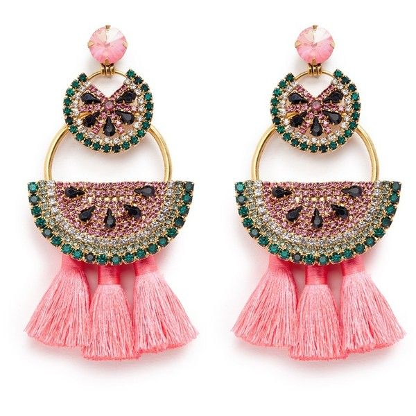 Elizabeth Cole 'Watermelon Chandeliers' Swarovski crystal tassel drop... ($452) ❤ liked on Polyvore featuring jewelry, earrings, metallic, boho jewelry, stud earrings, tassel charms, drop earrings and swarovski crystal earrings