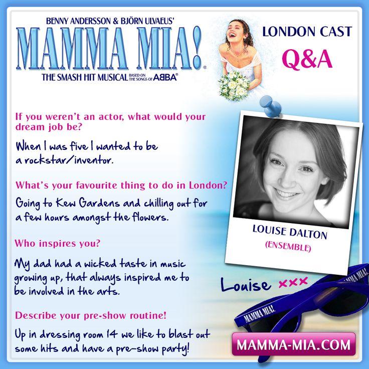 #MeetTheCast, proudly presenting Louise Dalton, part of our f-ABBA-lous 2016/17 ensemble.  MAMMA MIA! London INFO/TICKETS: www.mamma-mia.com  #MammaMiaMusical #MammaMiaLondon
