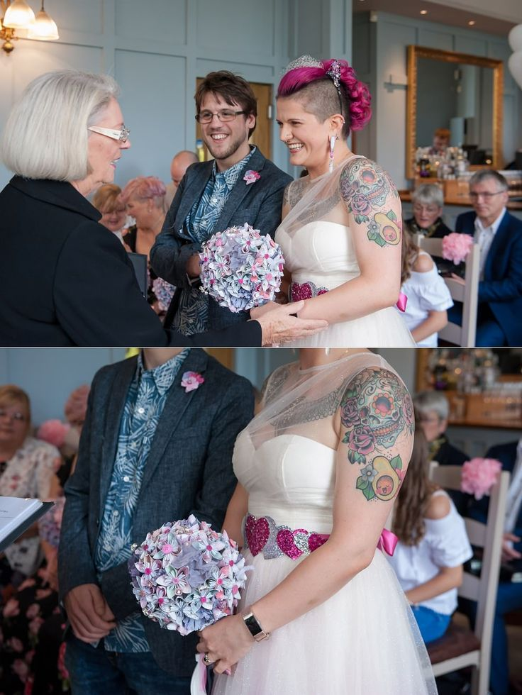 Duke's head wedding Putney ceremony | Tattooed bride with pink hair | Casual groom attire