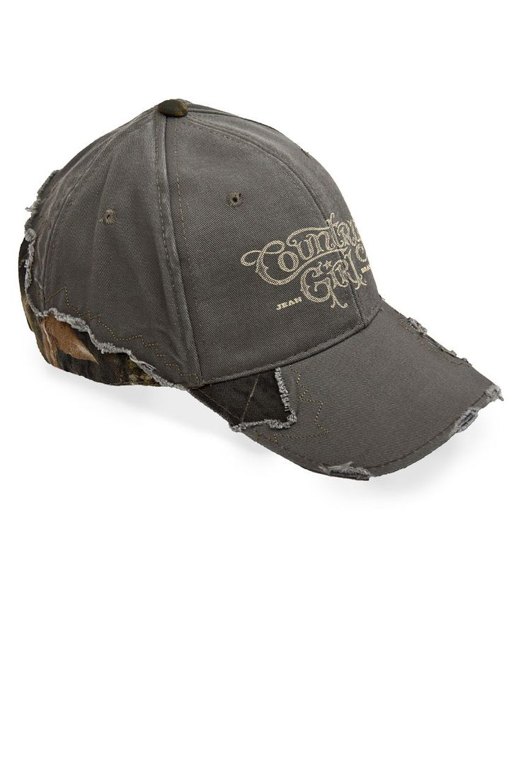 Country Girl Store - Women's Country Girl® Logo Frayed Mossy Oak® Cap, $25.00 (http://www.countrygirlstore.com/gifts-accessories/womens-hats/country-girl-logo-frayed-camo-cap/)