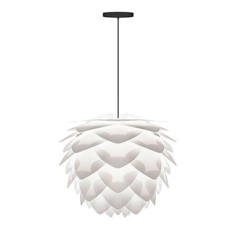 "Silvia White Pendant With Black Canopy Vita Lighting Inc Globe; $168.99; white finish, black wire & canopy; 18""Hx18""W; bellacor.com"