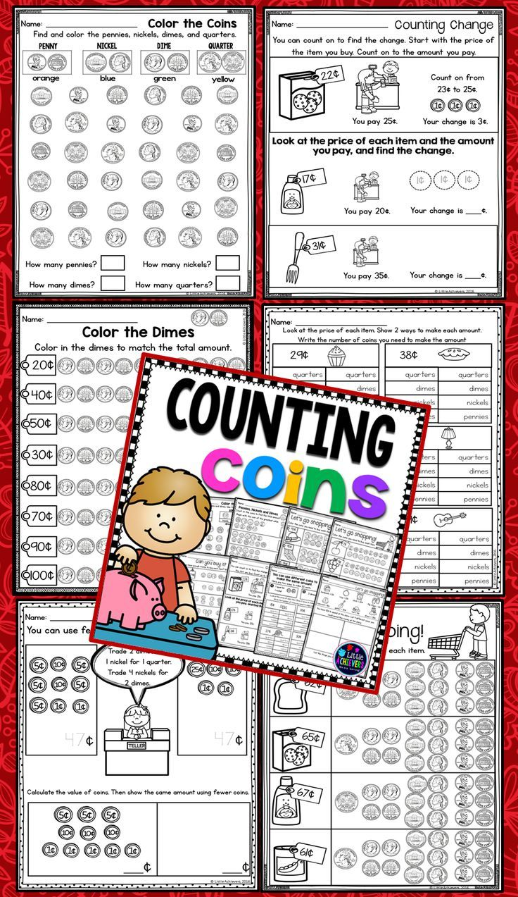 $Money: Counting Coins Worksheets for Q, N, D and P.