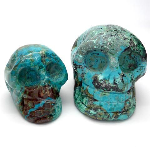 Skull, Hand Carved Chrysocolla Gemstone   deeper spiritual meanings of Nature   Crystal Heart Melbourne Australia since 1986