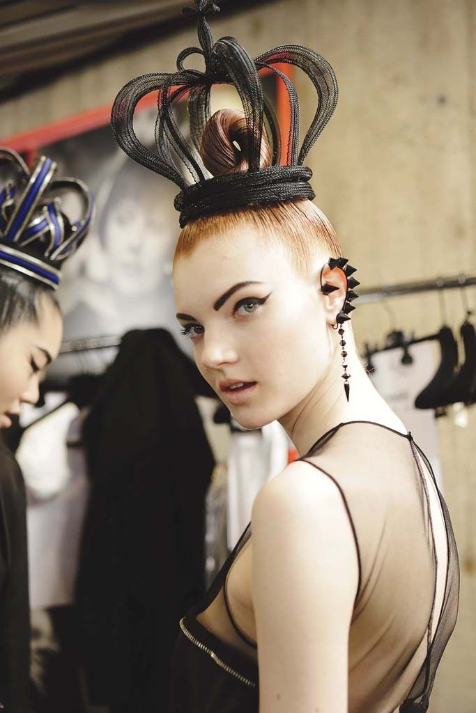 Jean Paul Gaultier [Photo by Delphine Achard] #millinery #judithm #hats tubular crin crown