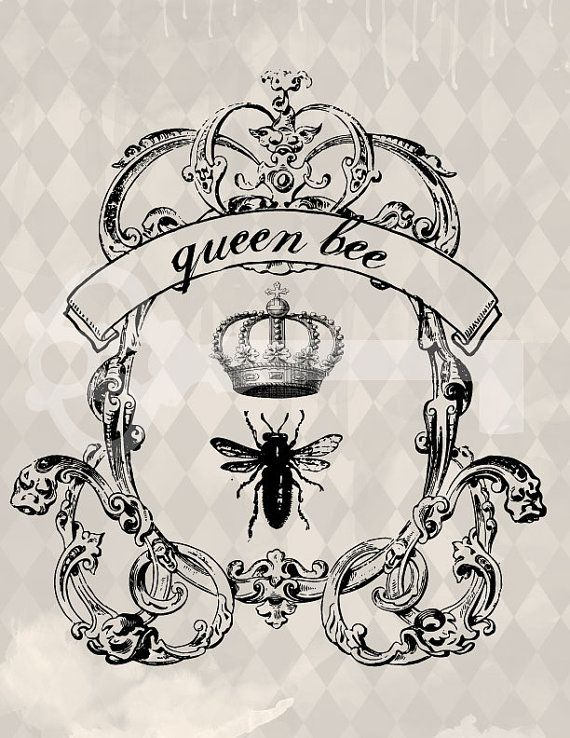 Queen bee crown frame digital download: Image No.453, Commercial and Personal Use, image transfer, printable artwork