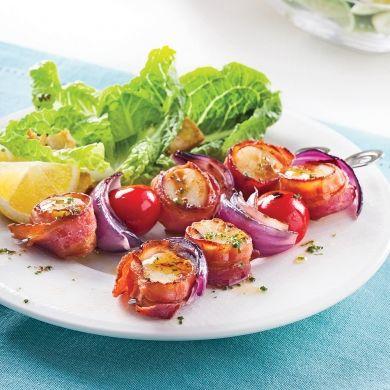 Brochettes de pétoncles au bacon et tomates cerises - Recettes - Cuisine et nutrition - Pratico Pratique