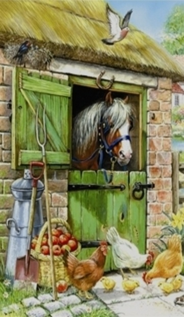 Chickens & Pony...Painting