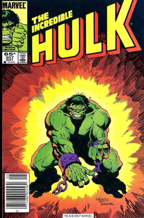 The Incredible Hulk #307, may 1985, cover by Mike Mignola and Steve Leialoha.