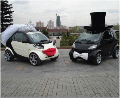 deux voitures décorées pour un mariage, un voile, des lèvres, un ...