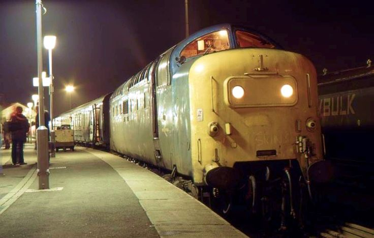 55010 'Kings Own Scottish Borderer' at Doncaster with the 1D08 19.40 Kings Cross - Hull on 4th Dec 1981. (Robert Peach)