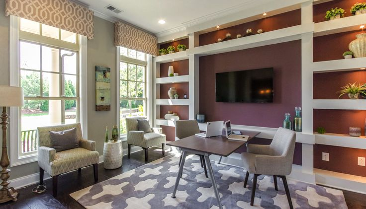Trendy study with custom built-ins and a TV wall. Spacious room with plenty of natural light from the large windwos. The Mayer Model, River Crest, New Homes in Atlanta, New Homes in Tyrone