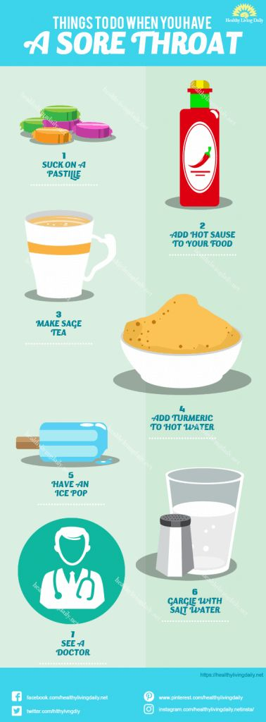 Things To Do When You Have A Sore Throat Infographic 👍😮  Read this article…Healthy Living Daily