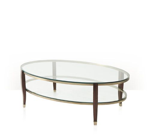 Elegant Cocktail Table, Mahogany Supports With Brass Feet, Two Oval Brass Bound  Tempered Glass Tiers